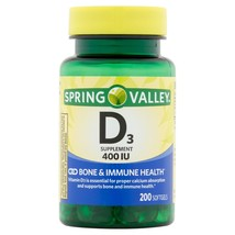 Spring Valley Vitamin D3 Softgels, 400IU, 200 CT. - $11.87