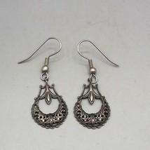 Vintage Silvertone Dangle Earrings 1980's 1990's - £22.40 GBP