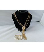 Vintage Fashion Jewelry Set Long Chain Necklace Gold Tone Flat Hoop Earr... - $27.89
