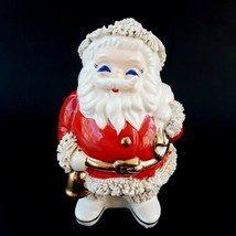 Vintage Spaghetti Trim Santa Claus Bank Christmas Ceramic Gold Accents - $14.99