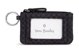 Vera Bradley Iconic Top Zip ID Card Case Denim Navy Coin Pouch Key FOB T... - $24.74