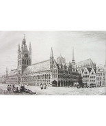 ORIGINAL ETCHING PRINT - Belgium Ypres Town or Cloth Hall - $29.70