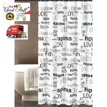 "Shower Curtain Printed Design Inspire Sentiments 70""x72"" Bath Decor Home... - $25.73"