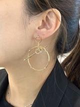 Authentic Christian Dior 2019 CD LOGO LARGE CIRCLE HOOP DANGLE DROP Earrings image 6