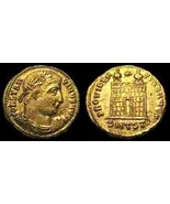 Roman Imperial, Thessalonica Mint, 326-328 AD Constantine I, Campgate - $18.00