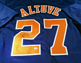 JOSE ALTUVE / AUTOGRAPHED HOUSTON ASTROS BLUE CUSTOM BASEBALL JERSEY / COA