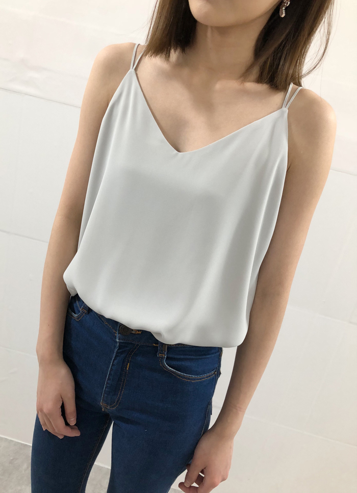 Summer V-Neck Chiffon Top Silver Gray Wedding Bridesmaids Chiffon Tops US0-IS12