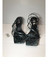ZARA LEATHER HIGH-HEEL SANDALS WITH SQUARE TOES Size 6.5 (37) - $89.99