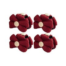 [Set of 4]Fashion Knit Bowknot Small Jaw Clip Hair Styling Claws,2.4 inches,RED