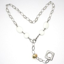 SILVER 925 NECKLACE, AGATE WHITE, SQUARE PENDANT, CHAIN OVALS WORKED image 2