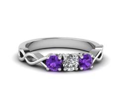 14K White Gold Plated 3/4Ct Purple & White Round Diamond 3 Stone Engagem... - $82.99