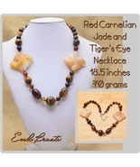 Red Carnelian, Tiger's Eye Gemstone Necklace - New! - $25.00