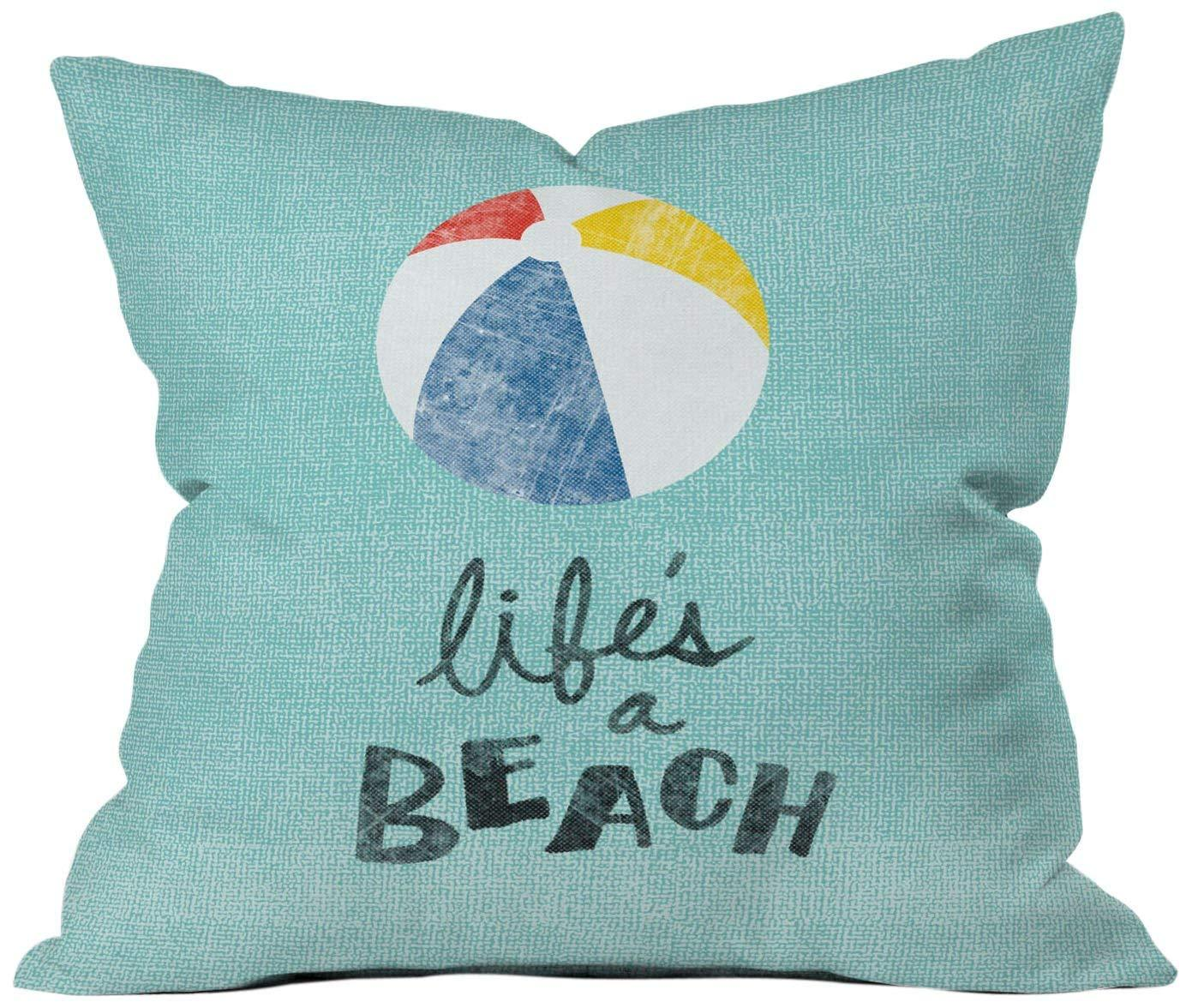 Deny Designs Nick Nelson Lifes A Beach Throw Pillow, 18 x 18