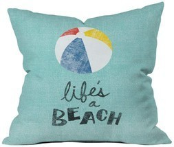 Deny Designs Nick Nelson Lifes A Beach Throw Pillow, 18 x 18 - $41.52