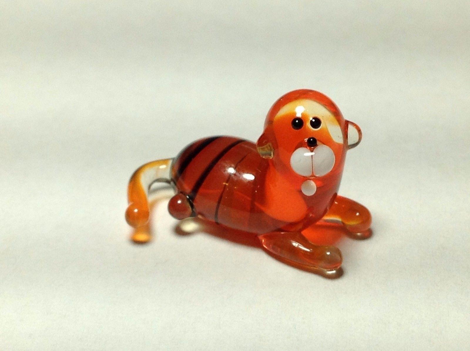 Miniature Glass cute tiger cat Handmade Blown Glass Made USA