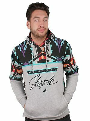 Staple Men's Heather Grey Aztech LS Long Sleeve Hooded Sweater NWT 1511H2978
