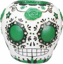 DOD Day of The Dead Green Sugar Skull Figurine - $24.74