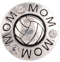 Silver Volleybal Rhinestone Mom 20mm Snap Charm Interchangeable For Ging... - $6.19