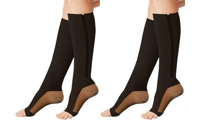 Xfit Zip Up Open Toe Compression Socks 2 PACK BLACK - Size L/XL Unisex