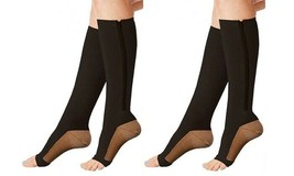 Xfit Zip Up Open Toe Compression Socks 2 PACK BLACK - Size L/XL Unisex - $12.13