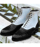 New Men Two Tone High Ankle Boots Men Alligator Ankle Boots, Men Ankle Boot - $179.99