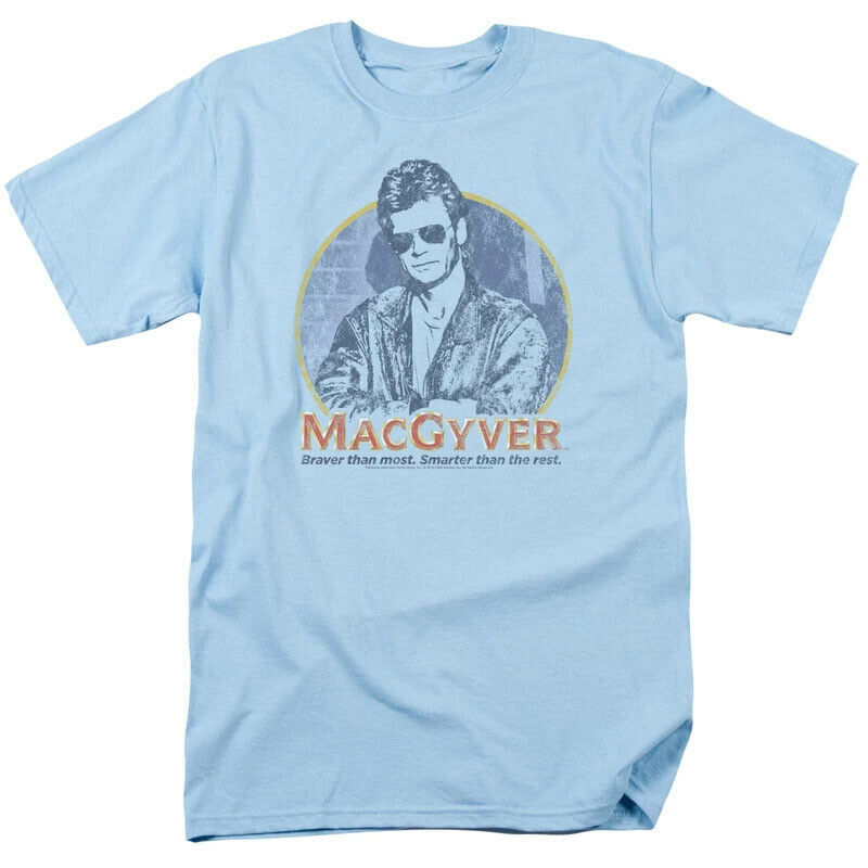 MacGyver Retro 80s adventure action TV series blue graphic t-shirt CBS1640
