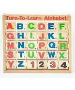 TURN TO LEARN ALPHABET NUMBER WOOD SPINNING BLOCK TILES EDUCATIONAL WOOD... - $12.86