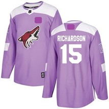 Men's Arizona Coyotes Fights Cancer #15 Brad Richardson Jersey Sewn on P... - $75.19