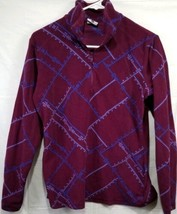 Columbia Women's Size Medium  Burgundy And Blue Fleece Pullover Sweatshirt - $20.32
