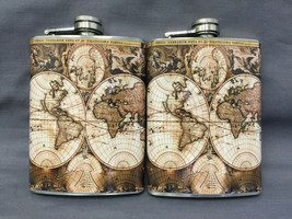 Set of 2 World Map D 3 Flasks 8oz Stainless Steel Drinking Whiskey - $11.05