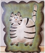 "Metal Tin Wall Sign Plaque 3D Whimsical Fat Cat Black White Stripe 11.5""... - €9,16 EUR"