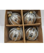 Sleigh Hill Trading JUMBO Christmas Silver Glass Ornaments Decor S/4 - $34.99