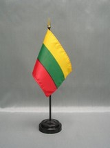 "LITHUANIA 4X6"" TABLE TOP FLAG W/ BASE NEW DESK TOP HANDHELD STICK FLAG - $4.95"