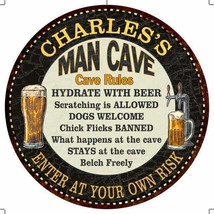 """CHARLES'S Man Cave Rules 14"""" Round Metal Sign Garage Wall Decor 10014001... - $25.95+"""