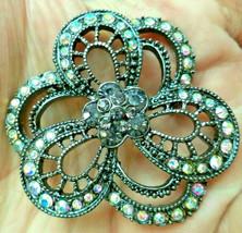 """Vintage AB Rhinestone cut out flower Brooch Pin 2"""" - $9.89"""