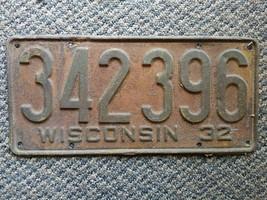 Old Vintage Antique 1932 Wisconsin license plate 342-396 man cave garage... - $19.99