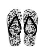Keith Haring Panel Pattern, Street Art Flip-Flops - $24.95