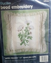"""Vintage Bucilla Bead Embroidery Golden Blossoms 12"""" Square Pillow Kit #4... - $15.83"""