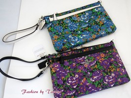 New w Tag COACH F57987 Rose Meadow Pop Up Pouch Large Wristlet Bag - $74.00