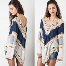 Women Blouses Fashion Multicolor V-Neck Long Sleeve Lace Crochet Kimono Blouse P