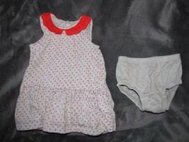 INFANT GIRLS BABY GAP GRAY & RED STAR EYELET LACE COLLAR DRESS SET SIZE ... - $9.40