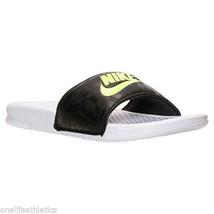 Men's Nike Benassi JDI Print Slide Sandals Black / Volt - $27.99