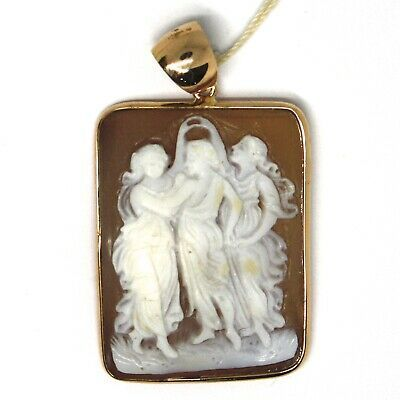 PENDANT ROSE GOLD 18K 750 CAMEO CAMEO SHELL RECTANGULAR, THANK YOU DANCING