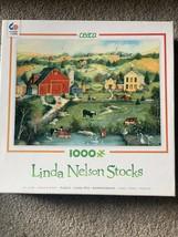 Ceaco Linda Nelson Stocks Sweet Meadowland 1000 Piece Puzzle Farm Landscape - $8.59