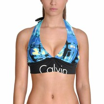 Calvin Klein NAVY Printed Halter With Logo Bikini Top, US Medium - $30.89