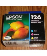 3 Pack Genuine Epson 126 Color Ink Cartridges  Cyan Magenta Yellow Dated... - $30.84