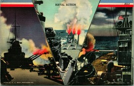 Vtg Curt teich linen postcard wwii propaganda v naval action series - $8.94