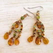 Liz Claiborne Long Drop Earrings Topaz Crystal Drop Earrings Crystal Brown Green - $22.20