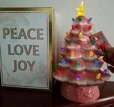 Mr. Christmas® 12-Inch Retro Nostalgic Ceramic Christmas Tree Pink Batte... - $79.15