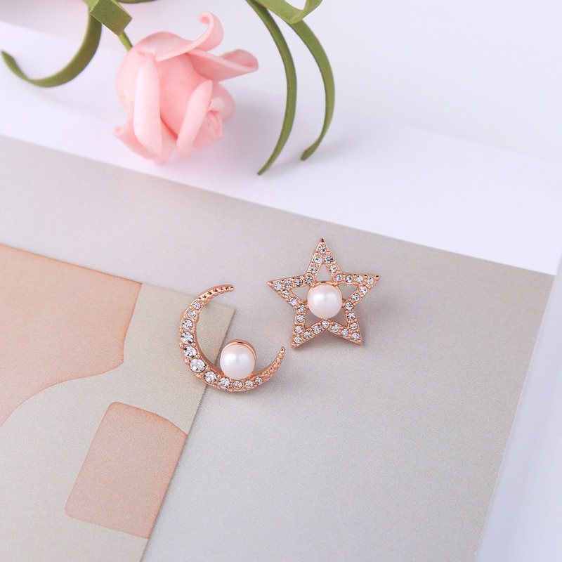 Product Crystal Moon Star Stud Earrings For Women Summer Gift